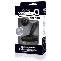 Black My Secret Screaming O® Bullet and Ring for Him - Packaging Front