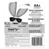 Energizer MAX Alkaline AA Batteries - Back