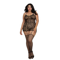 Black Dreamgirl Women's Plus Size Lace Garter Dress with Criss-Cross Details - Front