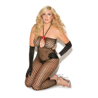 Plus Size Keyhole Crochet Net Footless Bodystocking - Front