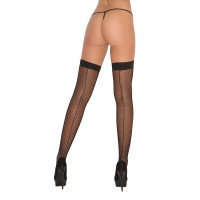 Black Cirilla's Fishnet Thigh Highs with Backseam - Back