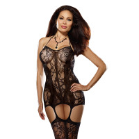 Dreamgirl Women's Plus Size Lace Fishnet Halter Garter Dress with Attached Garters and Thigh High Stockings