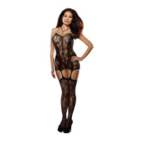 Black Dreamgirl Women's Plus Size Lace Fishnet Halter Garter Dress with Attached Garters and Thigh High Stockings - Front