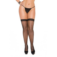 Plus Size Fishnet Thigh High with Lace Top