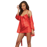 Red Dreamgirl Women's Charmeuse Short Length Kimono Robe, Sexy Chemise and Padded Hanger Set - Combo Front