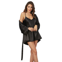 Black Dreamgirl Women's Charmeuse Short Length Kimono Robe, Sexy Chemise and Padded Hanger Set
