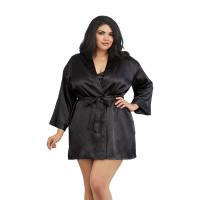 Black Dreamgirl Plus Size Charmeuse Short Kimono Robe and Chemise