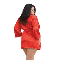 Red Dreamgirl Plus Size Charmeuse Short Kimono Robe and Chemise - Robe Back