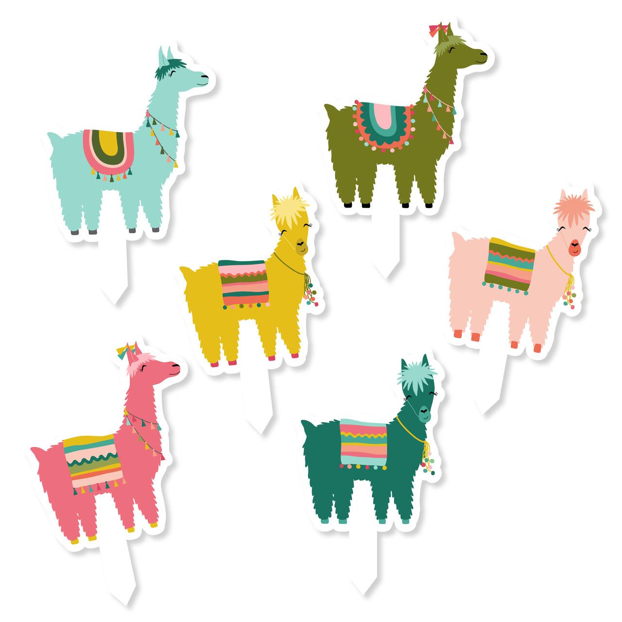 photograph relating to Llama Printable titled Llama Cupcake Toppers