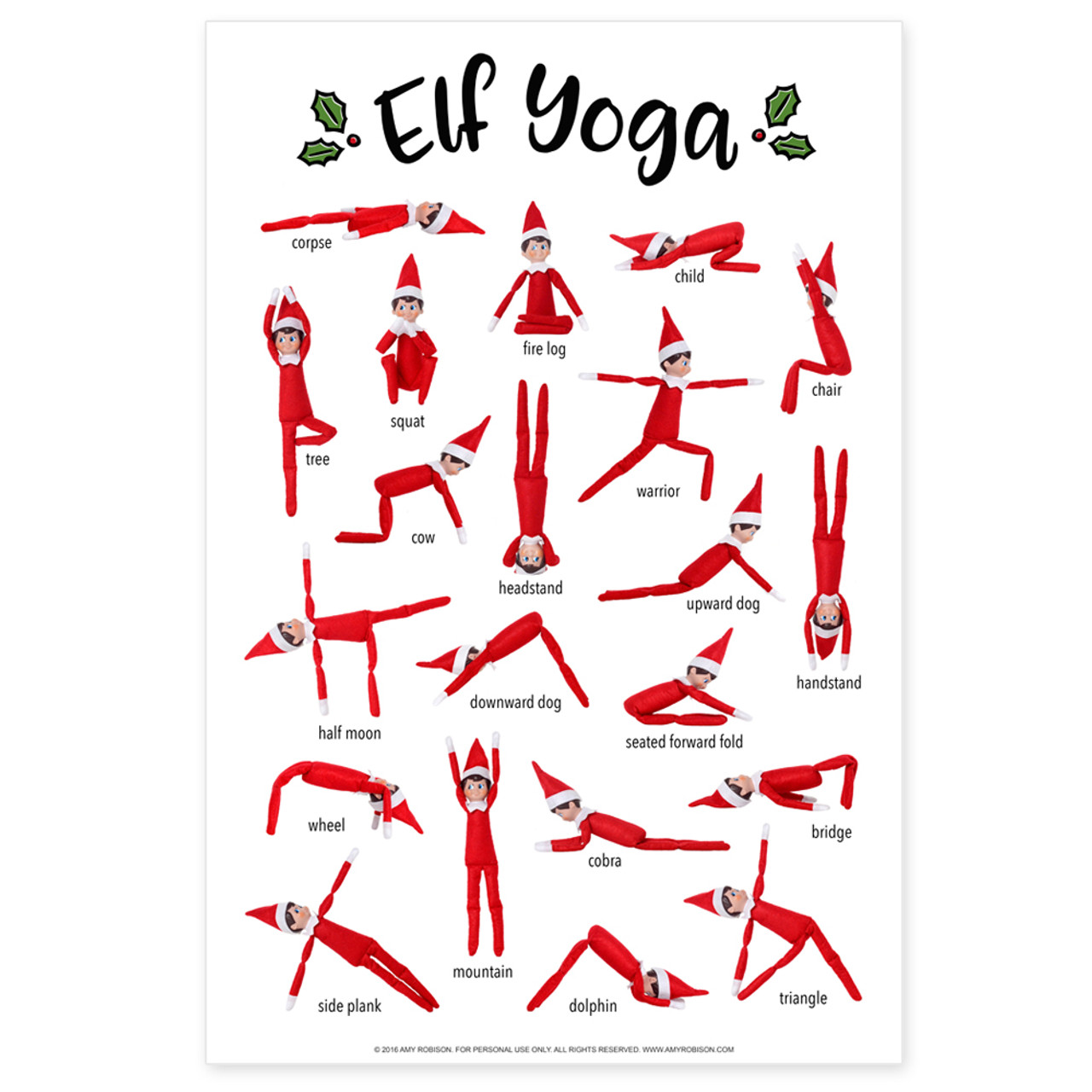 image regarding Yoga Printable named Elf Yoga Poster Printable