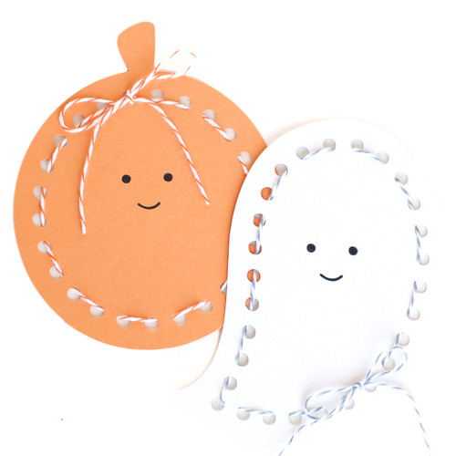 Ghost and Pumpkin Lace up Cards