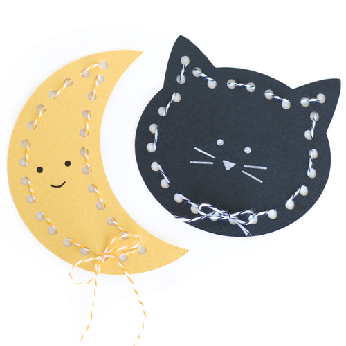 Moon and Cat Lace up Cards