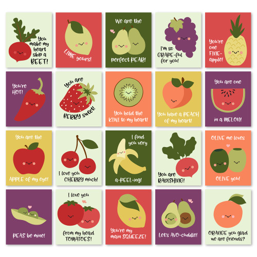 Fruit and Veggie Valentine Pun Cards - Download