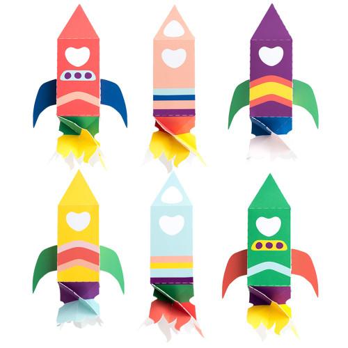 Space Valentine Rocketship Treat Boxes - Download
