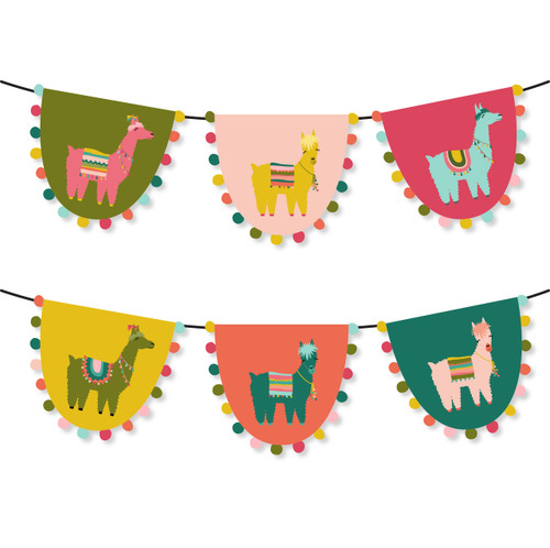 printable cactus and llama party pom pom banner