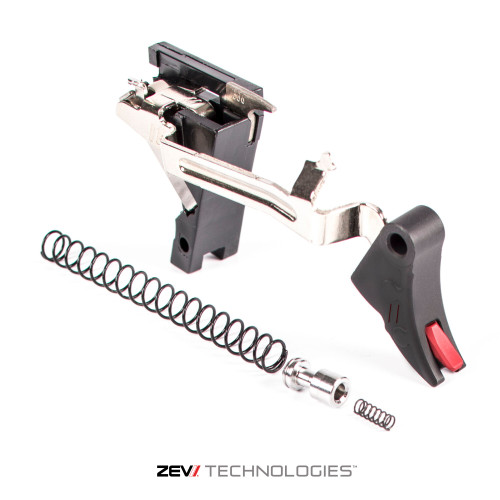 Zev Pro Trigger 9MM Curved Face Upgrade DROP IN KIT 3rd GEN W/ RED Safety