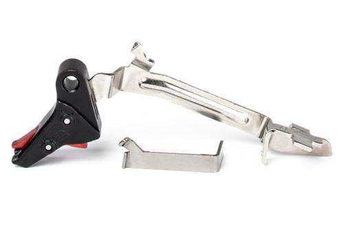 ZEV PRO Flat Face Trigger Bar Kit Small Red Safety media 1