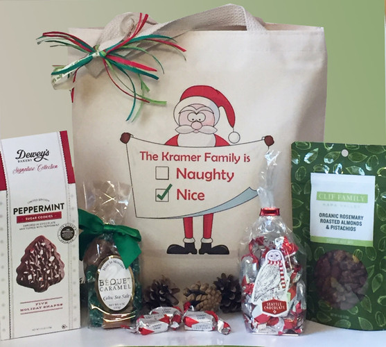 Naughty or Nice Gift Basket (You personalize tote, contents included)