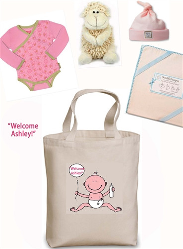 Create a Custom New Baby Tote gift set