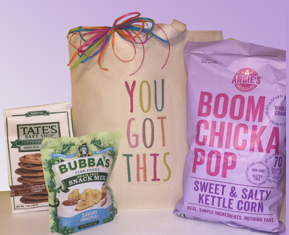"This encouragement gift basket combines an empowering ""YOU GOT THIS!"" message with nourishing, healthy gluten-free snacks to help support a hard working college student, a recovering friend, colleague or family member."