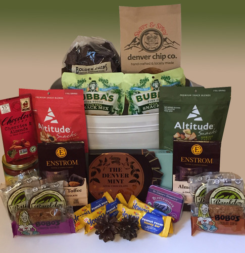 Share your love of Colorado with a beautiful basket brimming with best-in-class artisan Colorado snacks and treats.  There's something for everyone in this Colorado gift basket.  Perfect for an office or family gathering.