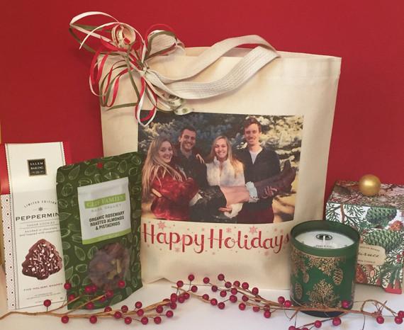 Happy Holidays photo gift basket