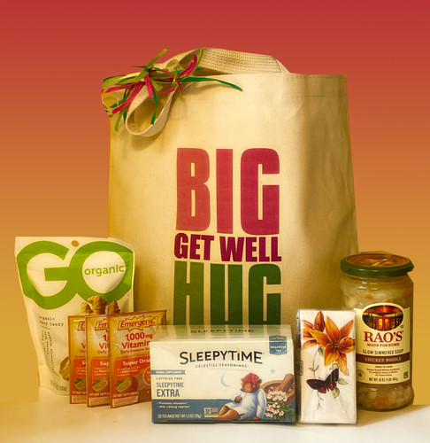 When you can't be there in person to deliver a much needed hug to a recovering patient, this cheery get well gift basket will fill in nicely. Filled with nurturing items to aid in a speedy recovery.  Personalization options available.