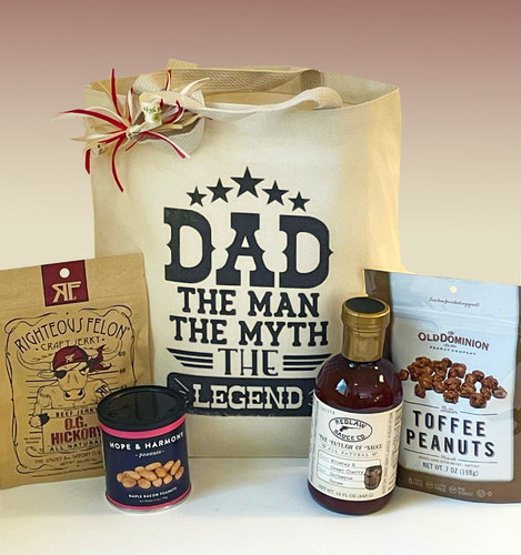 A sweet and savory Father's Day gift with flavors and snacks he's sure to enjoy!  When you can't be with him, this Father's Day tote will show Dad how much you care.