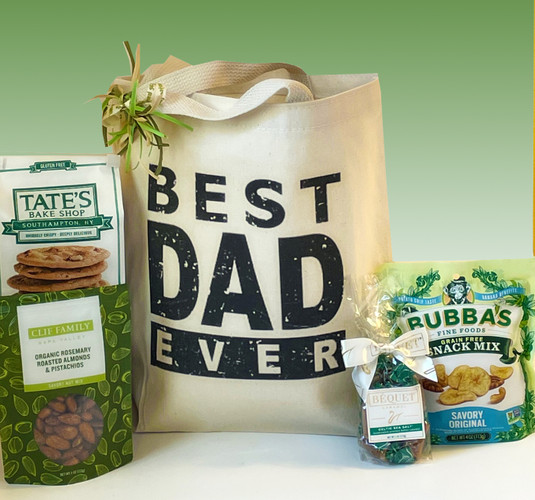 This Father's Day gift basket is designed to deliver an undeniable statement of gratitude (and delicious, healthy snacks and treats!).  Send your love and appreciation for all he does with this Best Dad Ever Gift Basket.