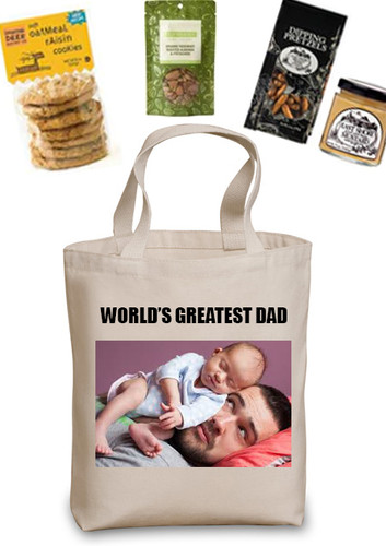 PhotoTote with Custom Header Gift Basket (You send an image for the bag and choose the contents)