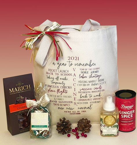2021 (better than 2020!) is a year to remember.  This keepsake gift tote offers a lighthearted recap along with delicious seasonal treats.