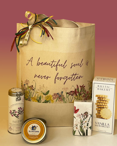 Express your heartfelt sympathies and show how much you care with this beautiful bereavement gift basket.  You may include additional items for your personal touch.  Order online today.