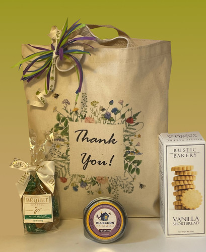 This classy thank you gift basket is designed to show your sincere appreciation.  The recipient is sure to enjoy the artisan sweets and relaxing all natural beeswax candle.  Additional items can be added for your personal touch.