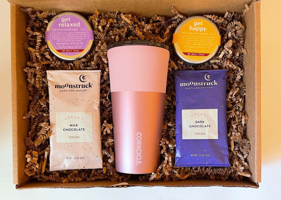Your kindness will be remembered as the recipient sips their favorite beverage from their insulated Corksicle tumbler.  Gift set includes hot cocoa and tea to help get them started.