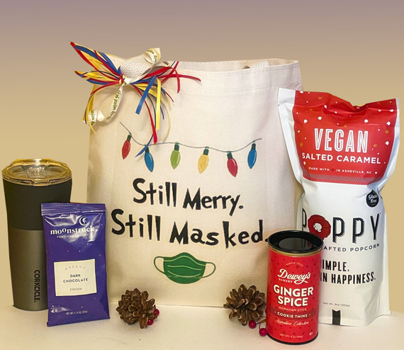 Mask on?  Mask off?  Doesn't matter, 'tis the season to celebrate and make merry!  Send your holiday wishes with this spunky holiday gift set.