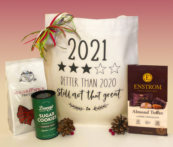 Up from a 1-Star Rating, 2021 is moving in the right direction!  Send your holiday wishes with this sassy holiday gift tote.