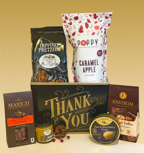 This sweet and savory thank you gift box is chock full of artisan treats, the perfect way to send your appreciation this holiday season.  A classy assortment for clients, friends or employees.