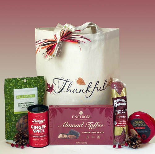 This is the season to show those we care about how much we're thankful for.  This gift basket includes artisan treats to savor throughout the holiday.  A perfect Thanksgiving hostess gift basket.