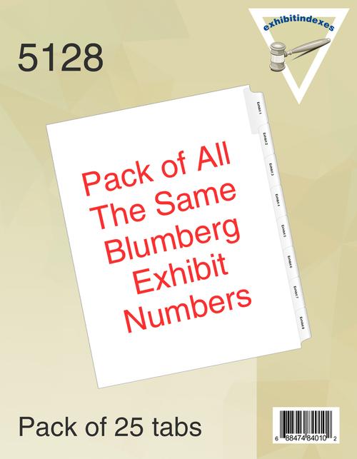 Blumberg  Exhibit Indexes Side Tab Numbers