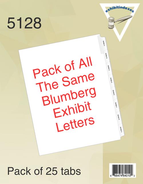 Blumberg Exhibit Indexes Side Tab Alphabetical