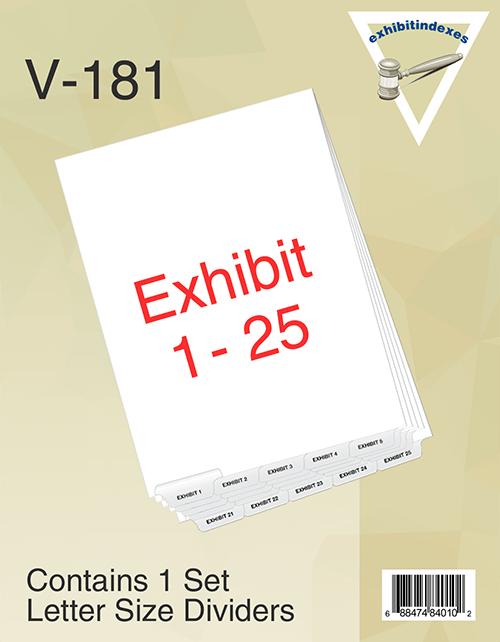 Exhibit Dividers 1-25 Bottom Tab Set