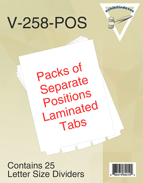 Blank Bottom Separate Position Laminated Tabs Letter Size