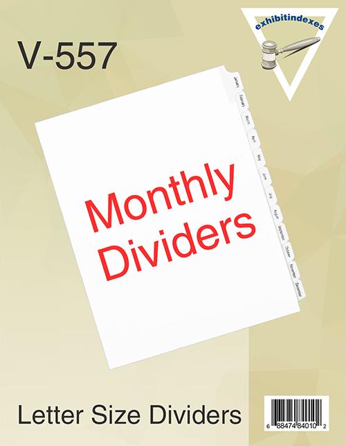 Jan-Dec (Monthly) Binder Dividers