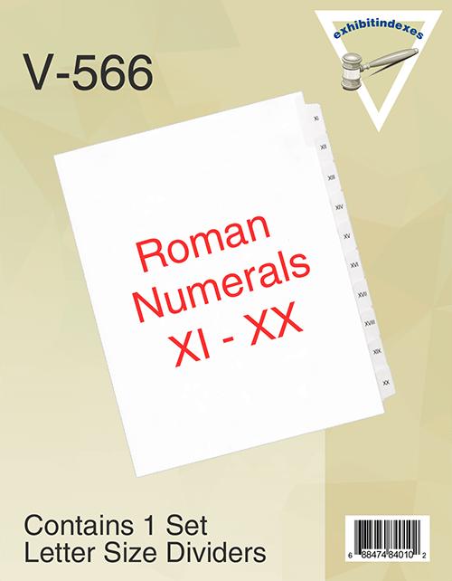 Roman Numerals XI-XX, 11-20.