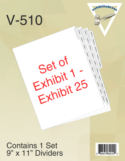 One Set of Exhibit 1-25 Tabs per Pack
