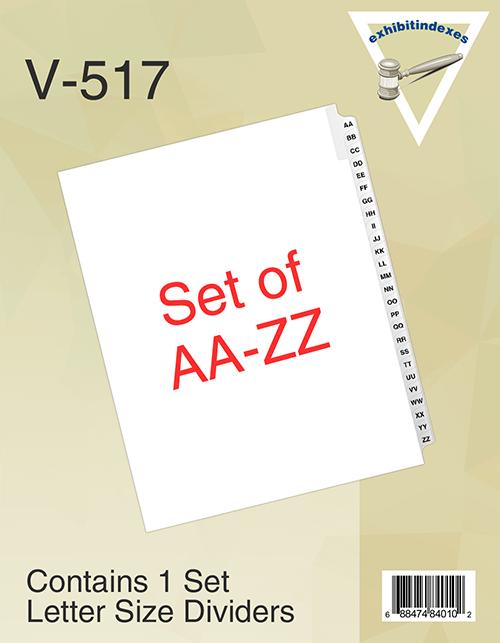 AA - ZZ Binder Tabs