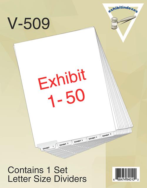 Bottom Exhibit Tabs Set 1-50