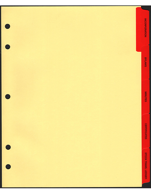 Minute Book Tabs