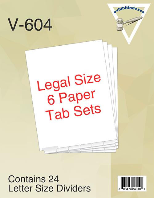 Bottom Paper Tab  Legal Size Sets 6 Tab