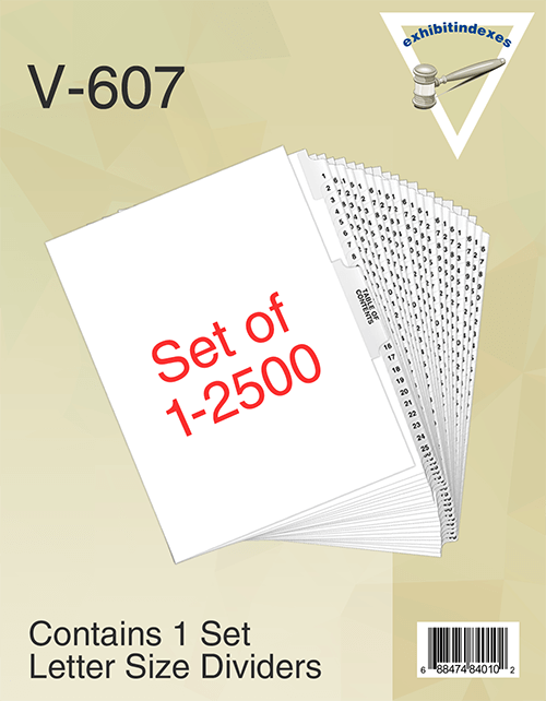 2501 Tabs in this set, it includes the Table of Contents